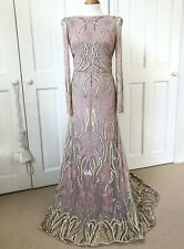 Pink Beaded Sequin Embellished Maxi Prom Evening Dress Size 10