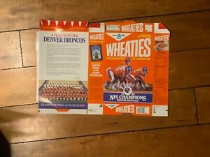 1988 DENVER BRONCOS JOHN ELWAY NFL CHAMPS WHEATIES CEREAL BOX FACTORY FLAT