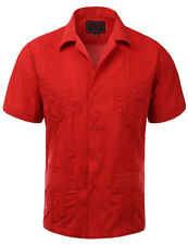NWT *RED GUAYABERA PLUS SZ MEN'S SHORT SLEEVE WEDDING BARTENDING SHIRT 2XL-5XL