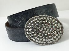 Streets Ahead Belt Tooled Pewter Leather With Rhinestone Buckle Size M