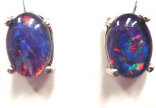 FREE JEWELLERY BOX!Natural Black Triplet Opal Earring With 925 Solid Silver Set