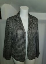 Womens SAG HARBOR black white tweed 3 snap button career blazer jacket sz 16