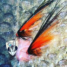2 V Fly Stor Lax KMO Hot Orange TC Salmon Tube Flies & Hooks