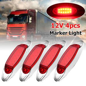 12V 4Pcs 12 LED Front Side Marker Indicators Light Lamp Truck Trailer Lorry Bus