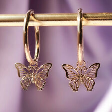 Fashion Butterfly Drop Earrings Women 14k Rose Gold Plated Jewelry A Pair/set
