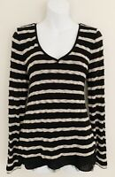 WHITE HOUSE BLACK MARKET Women Sweater Sz M Ivory Black Stripe Lined V-Neck