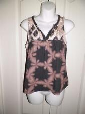 ANTHROPOLOGIE AKEMI + KIN Multi Print BRAIDED TRIM Tank Top X SMALL Petite