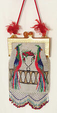 PEACOCKs beaded purse two tone celluloid coin purse closure style frame 1920s !