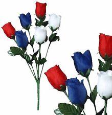 Lot of 144 Usa Poly Silk Rosebuds Patriotic Memorial Home Decor Craft Flower New