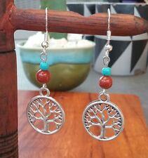 Tree of Life Sterling Silver Hooks Earrings Jasper Turquoise Nepalese Colours