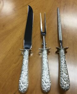 Rare X-LARGE Antique Sterling Silver Repousse S Kirk & Son 3 Pc. Carving Set