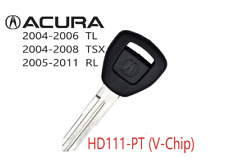 New ACURA HD111 PT Transponder V Chip Ignition Replacement Key USA Seller A+++