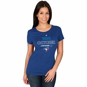 Toronto Blue Jays T- shirt Women's Royal 2015 Postseason Take October Majestic