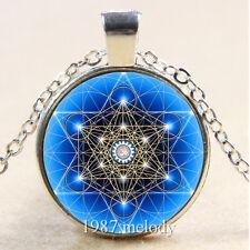 New Cabochon Glass Silver/Bronze/Black Chain Pendant Necklace(Blue Pentagram)