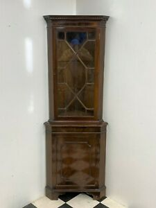 Antique Georgian Regency style glazed mahogany corner display cabinet - Delivery