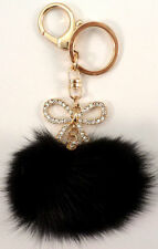 Rhinestone Bow With Pom-Pom Key Chain Fob Purse Phone Charm Tassel Drop