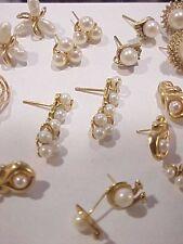 32Pc lot 14k gold PEARL Earrings,PINS,,PENDANTS.W/diamonds.LARGE LOT ESTATE FIND