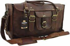 "Yuge Bear 21"" FS1 Vtg Genuine Leather Flap Duffel Carry On Travel Overnight Bag"