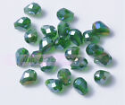 50pcs 7X5mm Free Shipping Crystal Glass Beads Facted Loose Beads Dp Green AB