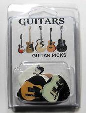 """GUITARS"" Guitar Pick Pack, 6 Picks .71mm Medium, Clamshell Package, pics picks"