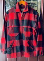 VTG 1960s WOOLRICH MACKINAW RED Buffalo PLAID WOOL HUNTING COAT Field Jacket