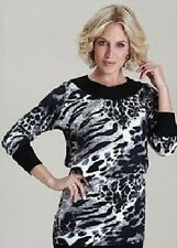 Ladies 3/4 Sleeve Black White Grey Animal Print Jumper Tunic Size 12