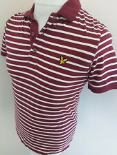 Lyle And Scott Golf Polo Shirt Red White Stripe Small 36 Chest Like Xs slim