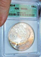 1881 - S Morgan Silver Dollar ICG MS65 COLOR ON OBVERSE