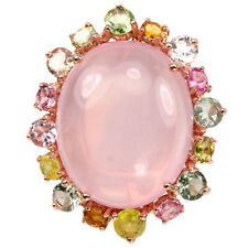 44.80 CT. REAL AAA ROSE QUARTZ & MULTI COLOR SAPPHIRE STERLING 925 SILVER RING 8
