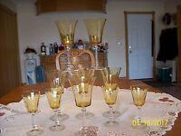 Gold Ribbed Delicate Vintage Crystal Long Stemmed Fluted Goblets Set Of 10