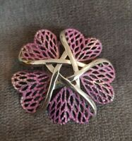Vintage HOLLYWOOD Silvertone lilac Flower Brooch pin Hearts entwined twist