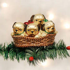 Pile of Puggles Glass Ornament