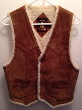 Vintage El Toro Bravo Brown Suede Leather Vest Jacket Fleece Lined Size Small S