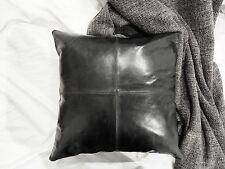 Patched Genuine Leather Cushion Pillow Cover Decor Black