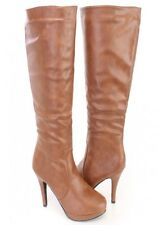 Tan Platform High Heel Boots Women's Shoes Size 7.5