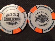 "Harley Poker Chip (Gray & Orange) ""Space Coast"" Palm Bay / Cocoa Beach FL"