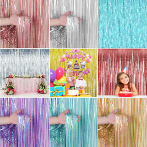 2M Foil Fringe Tinsel Shimmer Curtain Door Wedding Birthday Party Decoration New