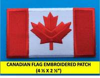 """LARGE CANADIAN FLAG EMBROIDERED PATCH IRON-ON SEW-ON CANADA MAPLE LEAF(4.5x2.5"""")"""