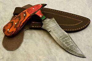 CUSTOM HAND MADE DAMASCUS STEEL BLADE HUNTING SKINNING KNIFE - # W-3323