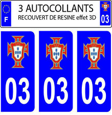 3 stickers plaque immatriculation auto PORTUGAL FPF N° 03