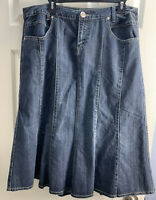 Motto Your Style Mantra 18W Med Wash Denim Skirt Modest No Slits Womens