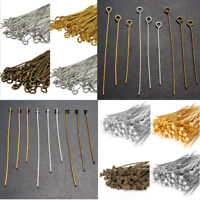 200pcs Silver,Gold,Bronze Flat Head Pins Jewelry Findings Eye Head Pin 0.7X40mm