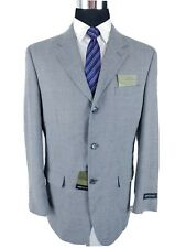 Jones New York Mens Gray Silk Wool Blazer Sport Coat Jacket Tan Check 40/42L