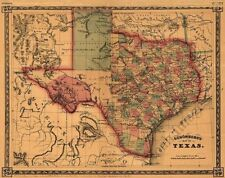 Map of Texas c1866 repro 20x16