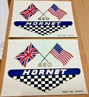 650 HORNET crossed flags side cover panel transfers, 1968 BSA A65 Hornet, pair.
