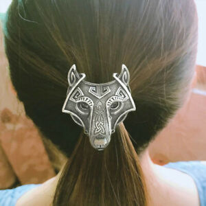 Antique Silver Tone Viking Wolf Elastic Hair Band Ponytail Holder For Women
