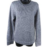J Crew Silver Metallic Long Sleeve Lambs Wool Sweater Women's Size Large