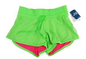 "Reebok 3"" Solid Mesh Woman's Shorts Size XS Green/ Pink NWT"
