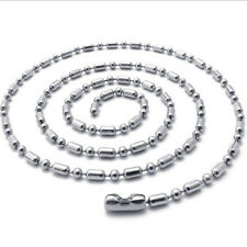 "1.5 mm 10""-100"" Silver Stainless Steel Ball & Oval Bead Necklace Chain Sb73"