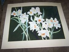 """Signed Original Watercolor by Peg DeChene Humphreys, Matted Daffodils 28""""x23"""""""